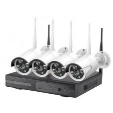 Комплект WiFi видеонаблюдения с 4 уличными камерами 2МП с функцией ретрансляции